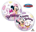 1st Birthday - Minnie Bubles lufi 50 cm