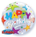 Happy Birthday csillagos Bubbles lufi 56 cm