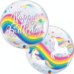 Happy Birthday unikornis Bubbles lufi 56 cm