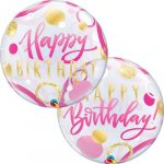 Bubbles Happy Birthday Arany pink lufi 56 cm