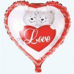 Szerelmes macik fólia lufi 43-45 cm