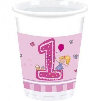 1. születésnapi pink műanyag pohár