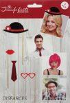 4 darabos szelfi szett - kalap, száj, nyakkendő és szív szemüveg