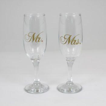 Pezsgős pohár Mr & Mrs
