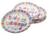 Boldog születésnapot színes papírtányér