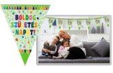 Boldog születésnapot! zöld zászlós zászlófüzér