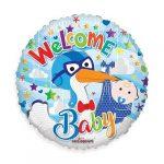 Welcome Baby kék gólyás fólia lufi 45cm