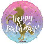 Happy Birthday arany unikornis fólia lufi 45 cm