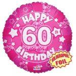 60. születésnapi hologramos pink fólia lufi 45 cm