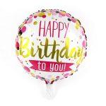 Happy Birthday fólia lufi rózsaszín és arany felirattal 43-45 cm