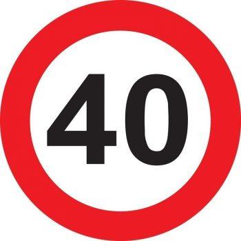 40-es sebességkorlátozó tábla 40 cm
