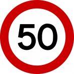 50-es sebességkorlátozó tábla 40 cm