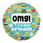 Omg! it's your birthday! smiley,emoji fólia lufi 45 cm