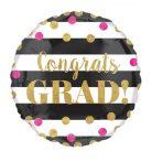 Congrats GRAD arany-pink pöttyös ballagási fólia lufi 45 cm