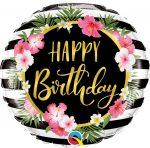 Happy Birthday hibiszkuszos fólia lufi 45 cm